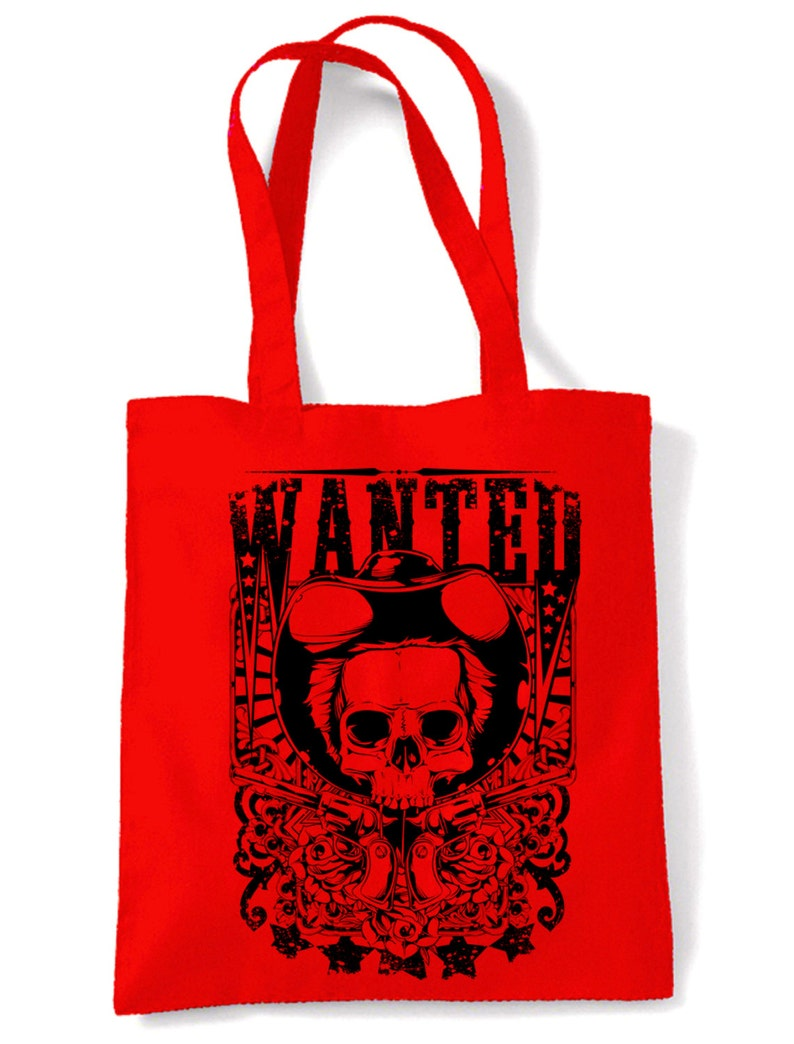 Cowboy Fancy Dress Wanted Poster Skull Large Print Tote Shoulder Shopping Bag