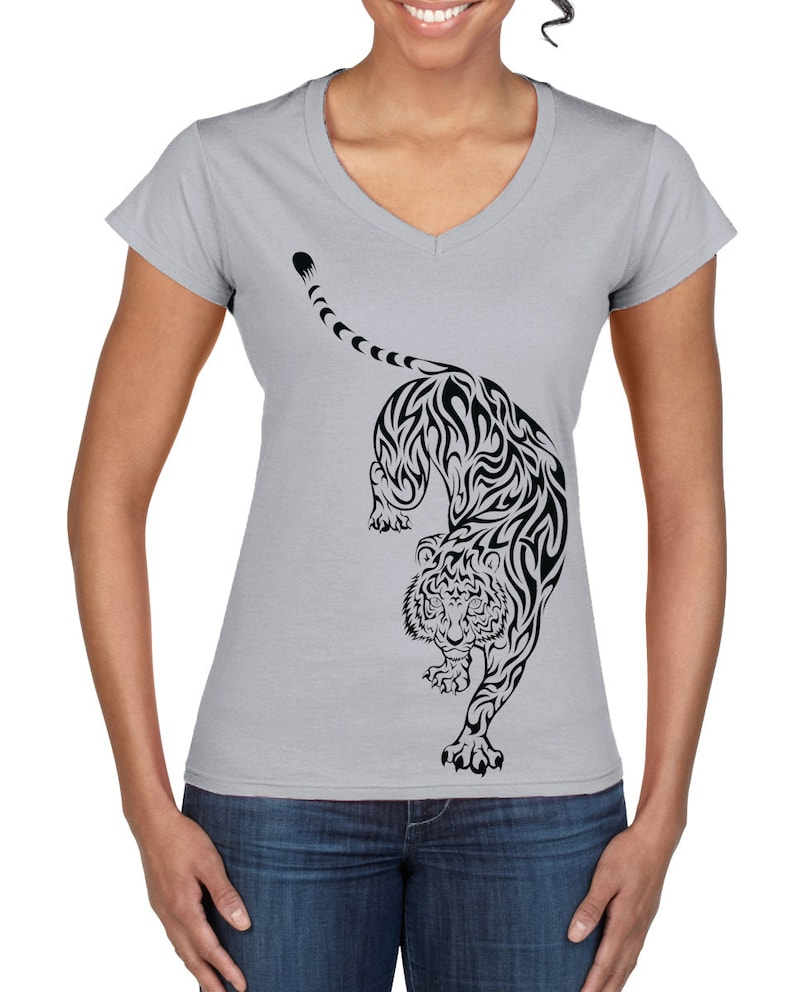 65488440718bf Tribal Tiger Tattoo Large Print V Neck Women's T-Shirt | Etsy