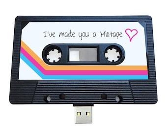 4GB/8GB/16GB USB Mixtape -  Retro Anniversary Gift , Loved One, Cute Birthday Present- Valentines Day , Girlfriend, Friend - Cassette