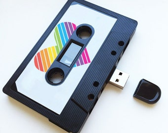 4GB/8GB/16GB Rainbow Heart - USB Mixtape - Retro Personalised Gift-  Love, Birthday Present- Boyfriend, Girlfriend, Bestfriend- Flash Drive