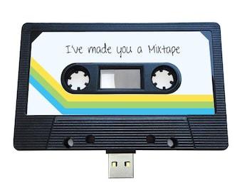 4GB/8GB/16GB USB Authentic Mixtape-Retro Personalized -  Valentines Day , Present, Boyfriend, Girlfriend, 90s, Flash Drive