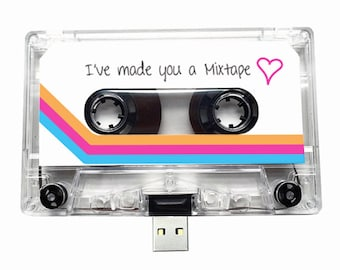 4GB/8GB/16GB USB Mix tape - Retro Personalised Gift - Loved One, Birthday, Wedding Present- Boyfriend, Girlfriend, Best friend- Flash Drive