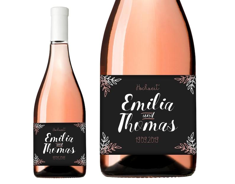 Flaschenetikett Hochzeitsgeschenk Wein Sekt
