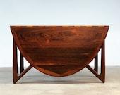 Kurt Ostervig Rosewood Drop Leaf Oval Dining Table