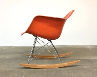 Herman Miller | Eames Orange Arm Shell Rocker RAR | Summit Mid Century