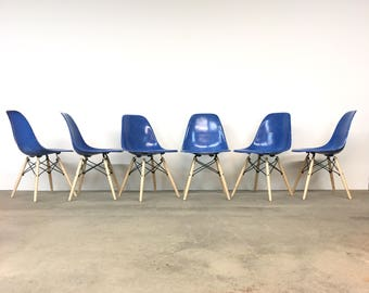 Herman Miller | Set (6) Eames Royal Blue Shell Chairs | Mid Century dining