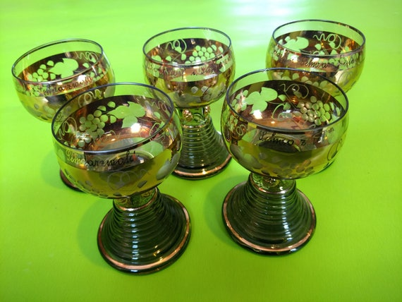 Vintage Set of Five German Roemer Green and Gold Wine Glasses