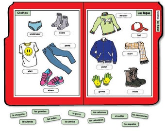 Learning Spanish/English File Folder Game - Clothes/Las Ropas