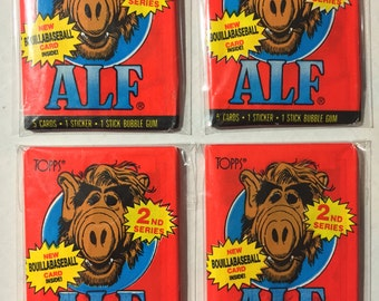 4 1987 vintage Topps Alf series 2 wax packs trading cards stickers
