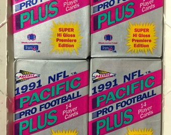 4 Vintage 1991 Pacific Plus Football Wax Packs football sports trading cards