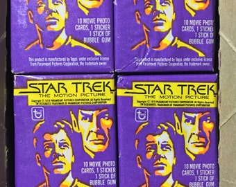4 vintage 1979 Topps Star Trek Motion Picture wax packs trading cards stickers