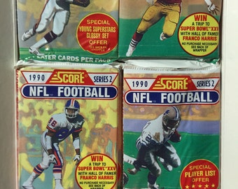 4 vintage 1990 Score Football series 2 wax packs sports trading cards
