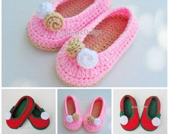 Crochet Slipper Pattern Crochet Pattern 109 - Toddler Rose Slippers Christmas Slippers Crochet Booties Pattern Girls Slippers Pink Red White