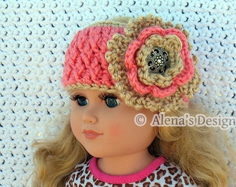 "Crochet Pattern 123 Crochet Headband Pattern for 18 inch Doll Crochet Patterns 18"" Doll Flower Headband Dolls Outfit Christmas Gift"