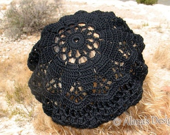 Crochet Pattern 075 - Crochet Lace Beret Alena Crochet Hat Pattern Crochet Patterns Adult Slouchy Lace Hat Girls Ladies Women Christmas Gift
