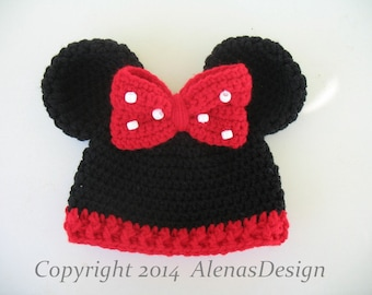 Crochet Hat Pattern 098 - Baby Minnie Mouse Hat - Mickey Mouse Hat Baby Boy  Baby Girl Hat with Mouse Ears Crocheted Bow Red Bow Baby Gift 600e3e3099f