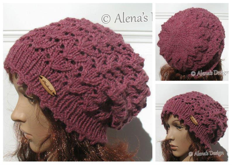 a2851f6ca3f Lace Slouchy Beanie Hat Knitting Pattern 204 Beret Knitting