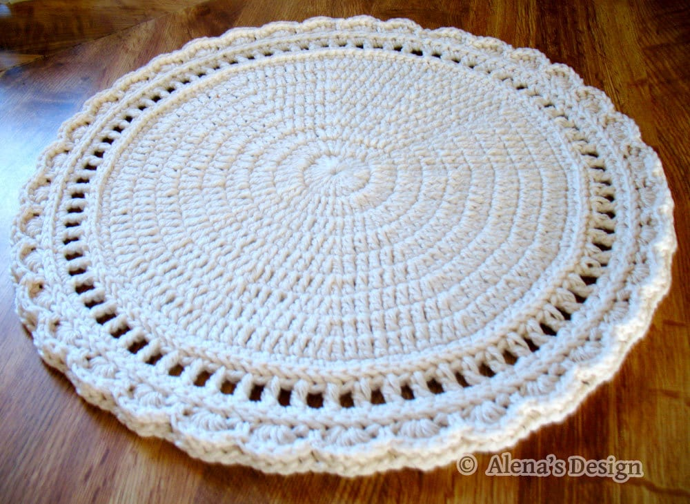 Free Crochet Pattern 154 Floral Style Placemat Crochet Etsy