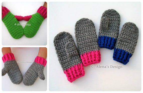 Crochet Mitten Pattern Crochet Pattern 104 For Etsy
