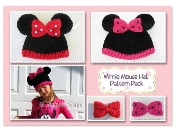 Crochet Patterns Minnie Mouse Hat All Sizes Pattern Pack Etsy