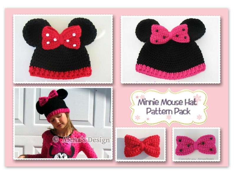 Crochet Patterns Minnie Mouse Hat ALL sizes Pattern Pack  598be24800f