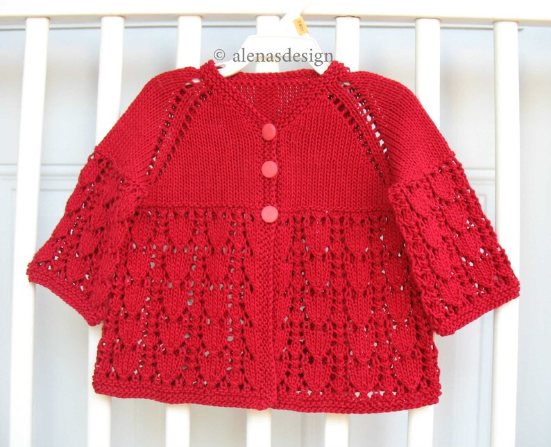Baby Cotton Jacket Knit Baby Sweater Red Lace Cardigan Baby Girl Cardigan Hand Knitted Cardigan