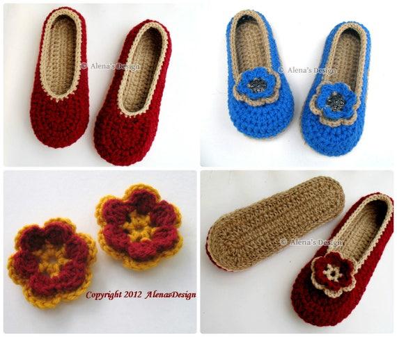 240d8324a3462 Crochet Slipper Pattern 143 - Crochet Pattern - Womens Slippers With Flower  - Shoe Pattern Ladies Women Adult Shoes Slippers Christmas Gift