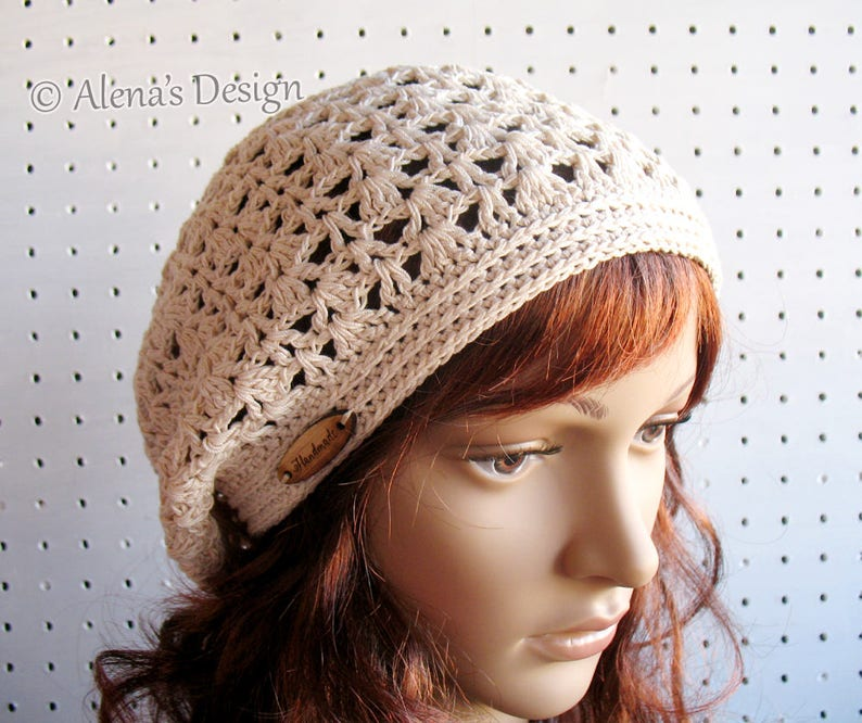 cdf6bbb13 Lace Slouchy Beanie Hat Ladies Women Handmade Crocheted Hat Beret Black  Beige White Red Blue Pink Lavender Summer Spring Easter Mother's Day