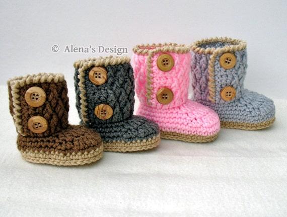 Crochet Bootie Pattern Two Button Baby Booties Crochet Etsy