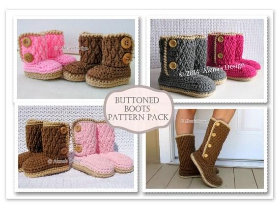 Crochet Patterns Buttoned Boots All Sizes Crochet Pattern Etsy