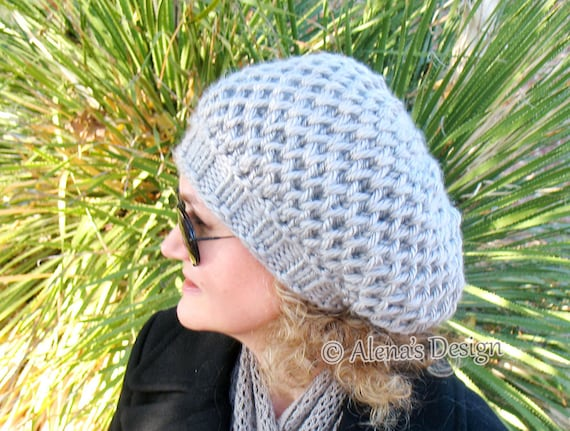 Hat Knitting Pattern 198 Honeycomb Slouchy Hat Free Pattern Etsy