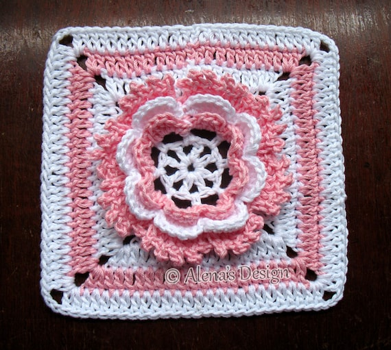 Crochet Pattern 195 Granny Square Glorious Flower Crochet Etsy