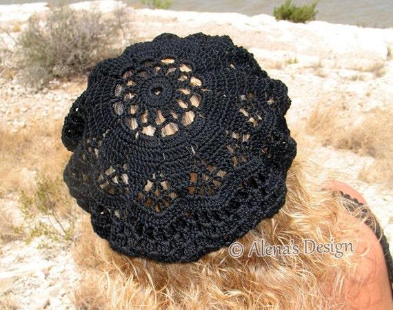 Crochet Pattern 075 Crochet Lace Beret Alena Crochet Hat Etsy