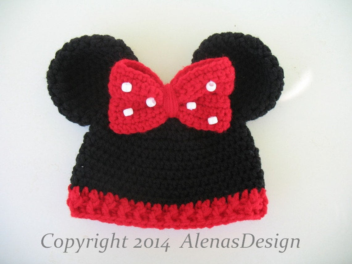 Crochet Hat Pattern Minnie Mouse Hat Mickey Mouse Hat Crochet Etsy