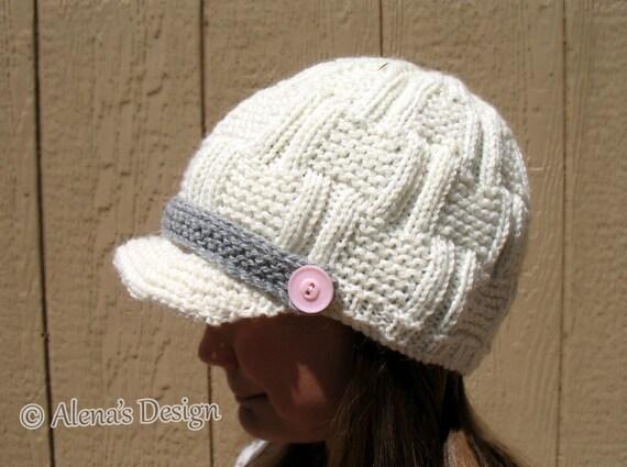 Knitting Hat Pattern 174 Mens Visor Hat Boys Beanie Buttoned Etsy