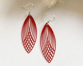Red Leaf Earrings ~ Long Earrings Leaf Earrings ~ Simple Earrings