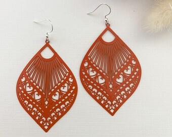 Orange Diamond Shape Earrings ~ Large Drop Earrings ~ Statement Dangles