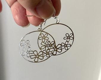 Shiny Silver Earrings  ~ Round Flower Earring Shape  ~ Large Dangle Drop Earrings