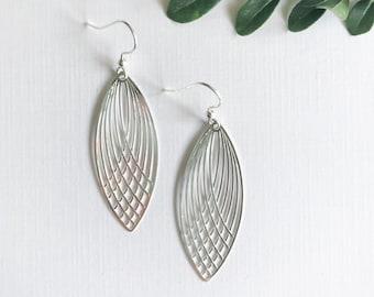 Silver Leaf Earrings ~ Long Earrings Leaf Earrings ~ Simple Earrings