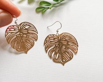 Rose Gold monstera leaf earrings ~ swiss cheese plant earrings ~ a lightweight earring