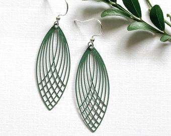 Dark Green Leaf Earrings ~ Long Earrings Leaf Earrings ~ Simple Earrings