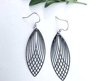 Black Leaf Earrings ~ Long Black Earrings ~ Bohemian Earrings