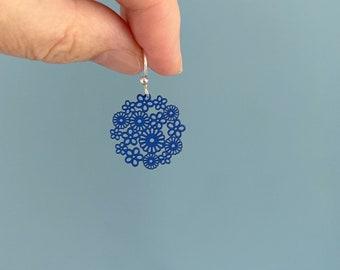 Blue flower filigree earrings.  Lightweight dainty earrings. Boho style.  Small earrings.