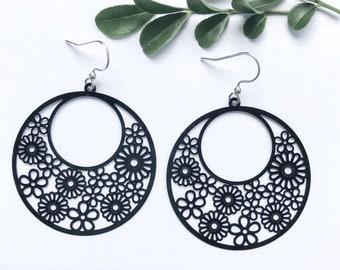 Black Statement Earrings ~ Round Shape Earrings  ~ Dangle Earrings