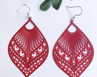Red Statement Earrings ~ Light Dangle Earrings ~ Drop Earrings