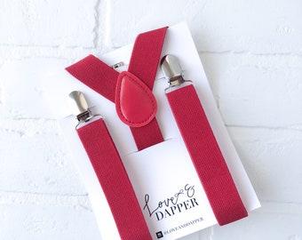 RED  suspenders Baby Suspenders, Toddler Suspenders, Child Suspenders, Ring Bearer, Page Boy, Wedding,  Wedding, Kid Suspender