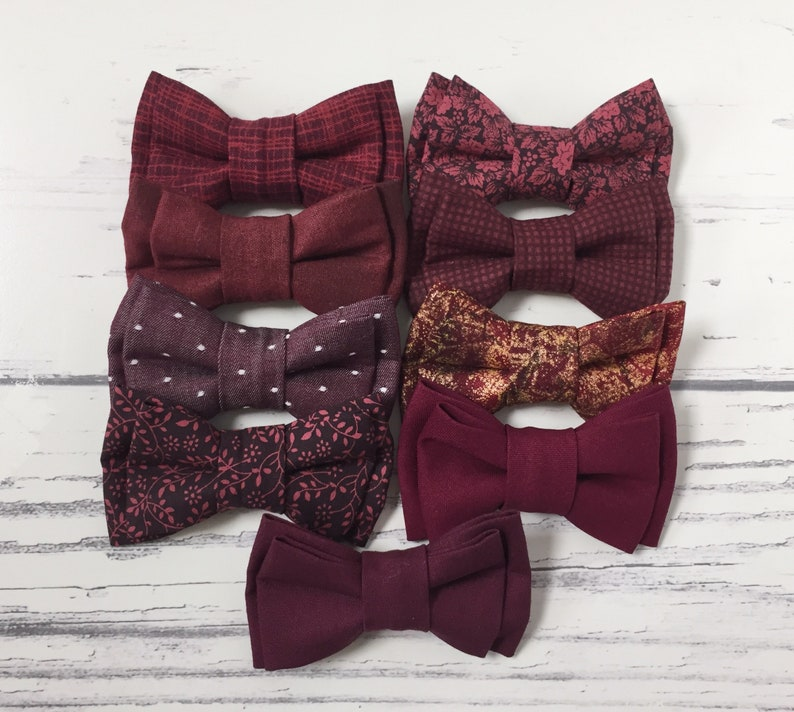 d69e0308bfb4 Burgundy Bow Tie Burgundy Bowties Wedding Bow Ties Groom | Etsy