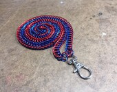 Badge Key Chain Chainmail Lanyard - Red and Royal Blue