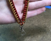 Badge Key Chain Chainmail Lanyard - Red and Gold