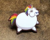 Bloated Rainbow Unicorn pin back skrink plastic art